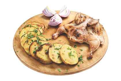 Chicken barbecue with potatoes