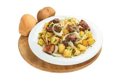 Fried potatoes with pork